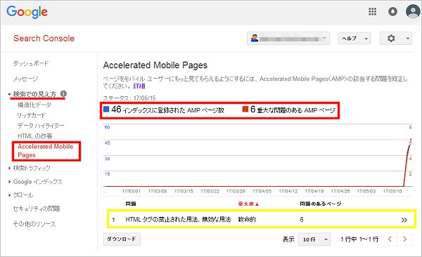 Search Console AMP画面
